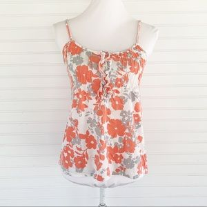 Aeropostale Coral White Floral Top